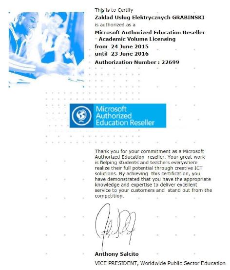 Certyfikat AER